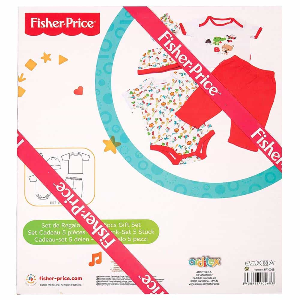 Fisher-Price Set cadou bebeluși 0-6 luni 5 piese asortate alb-roșu