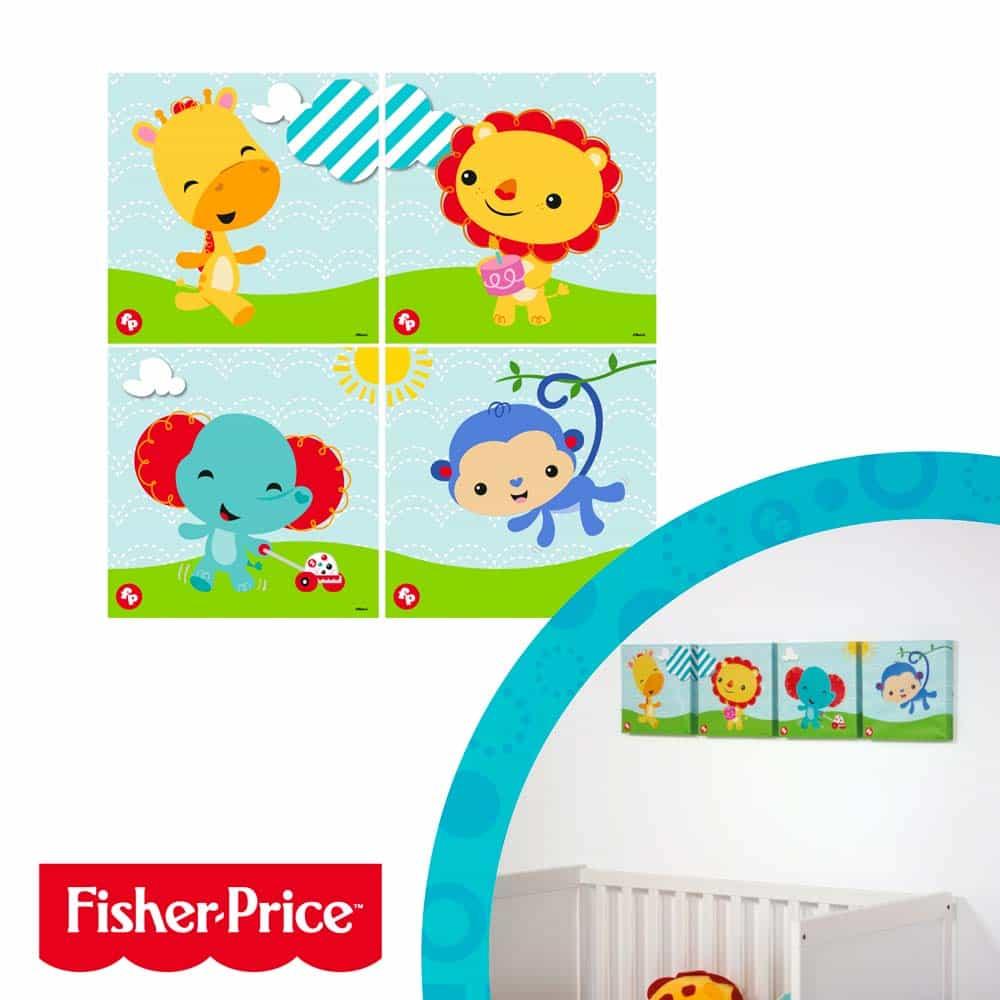 Fisher-Price Decorație perete cu animale set 4 bucăți FP10007 canvas