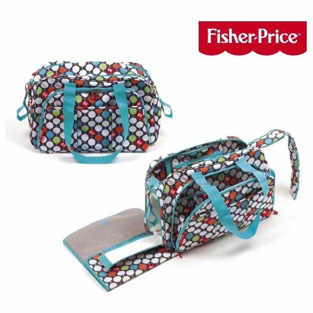 Fisher-Price Geantă de înfășat și voiaj multifuncțională cu buline