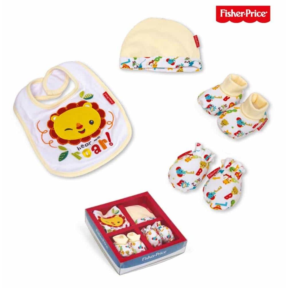 Fisher-Price Set cadou nou născuți 0-6 luni set 4 bucăți FP10061 alb roșu