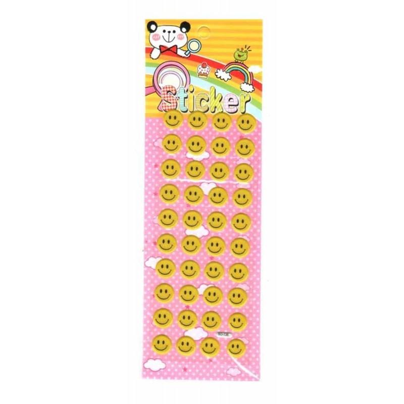 Sticker decorativ pentru cameră copii tip PVC cu burete Smiley 36buc roz