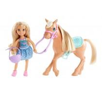Set Club Păpușă Barbie Chelsea și ponei DYL42 cu articulații flexibile