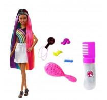 Barbie păpușă cu păr curcubeu strălucitor și set sclipici FXN97 brunetă