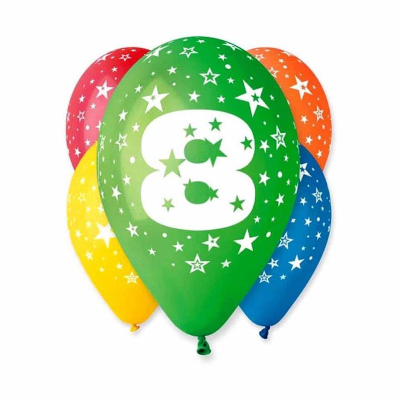 Set baloane inscripționate cu numărul 8 pentru aniversări 10buc 28cm