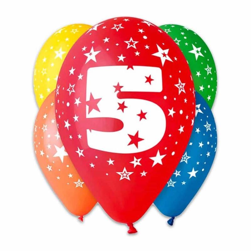Set baloane inscripționate cu numărul 5 pentru aniversări 10buc 28cm