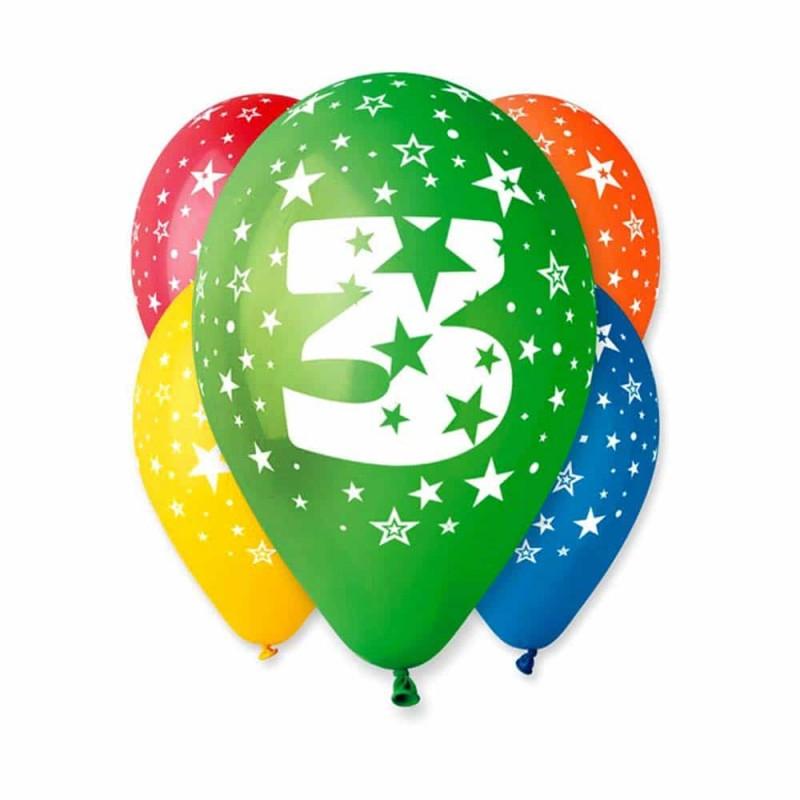 Set baloane inscripționate cu numărul 3 pentru aniversări 10buc 28cm