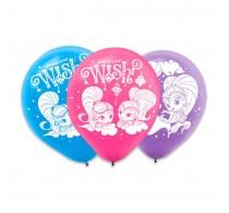 Set baloane inscripționate Shimmer and Shine pentru aniversări 6buc