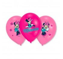 Set baloane inscripționate Minnie mouse pentru aniversări 6buc 28cm