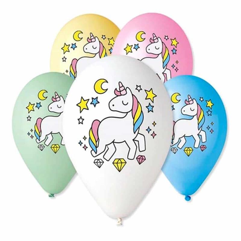 Set baloane inscripționate cu Unicorn pentru aniversări 6buc 27cm