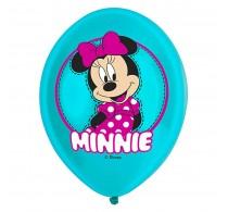 Set baloane inscripționate Minnie mouse culoare turcoaz 6buc 28cm