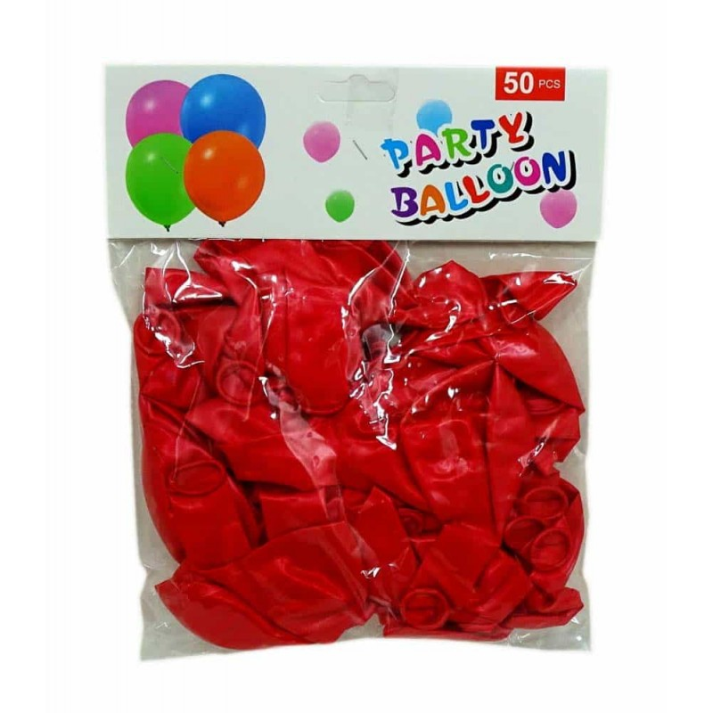 Set baloane de culoare roșu set 50buc - diametru baloane 30cm