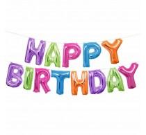 Set balon folie ghirlandă Happy Birthday 3m multicolor balon folie heliu