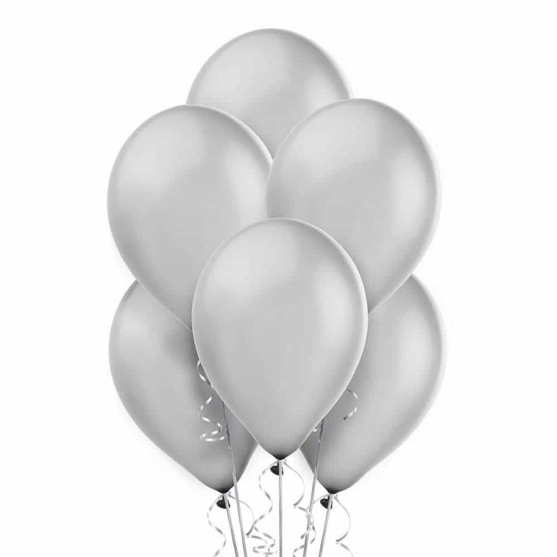 Set baloane de culoare argintiu set 50buc - diametru baloane 28cm