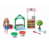 Păpusă Barbie Set de joacă cu plastilină Chelsea în grădină FRH75