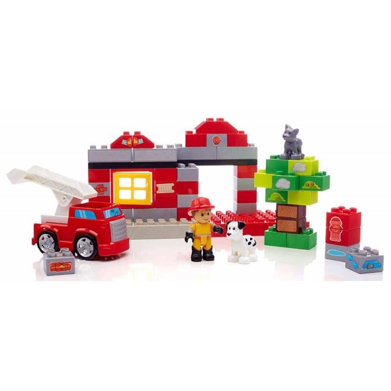 Mega Bloks Set cuburi pentru construit Stația de pompieri DCK75 55 buc