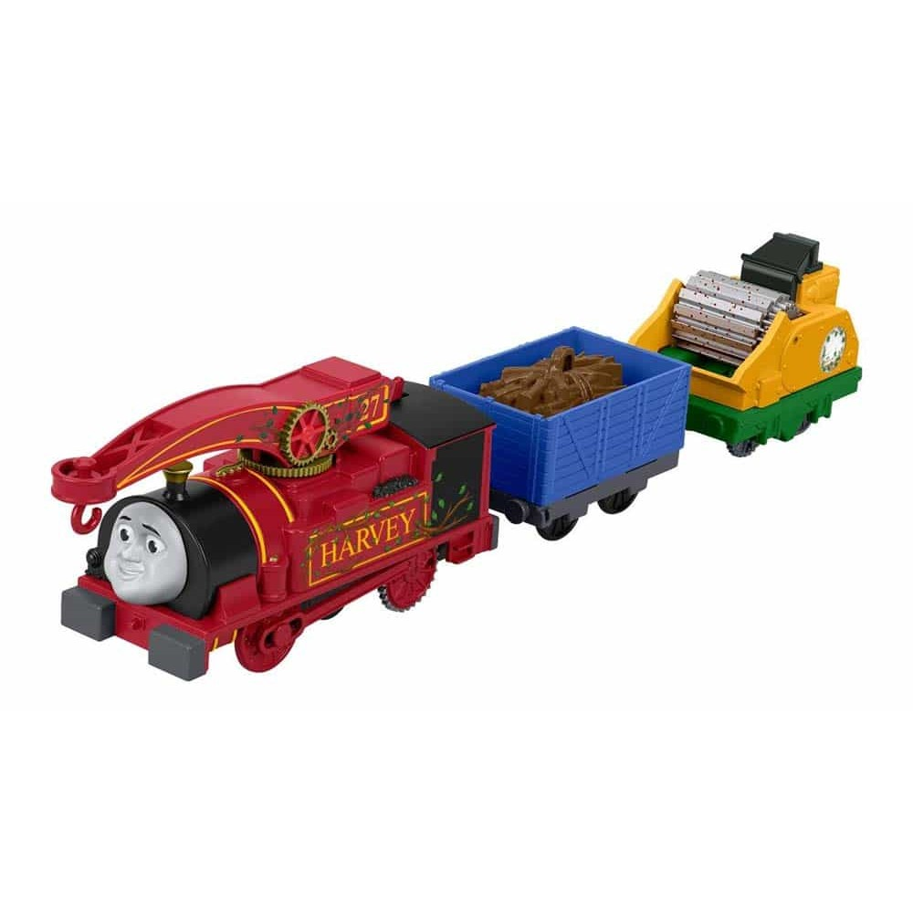 Locomotivă motorizată Thomas și prietenii Harvey cu 2 vagoane FJK53