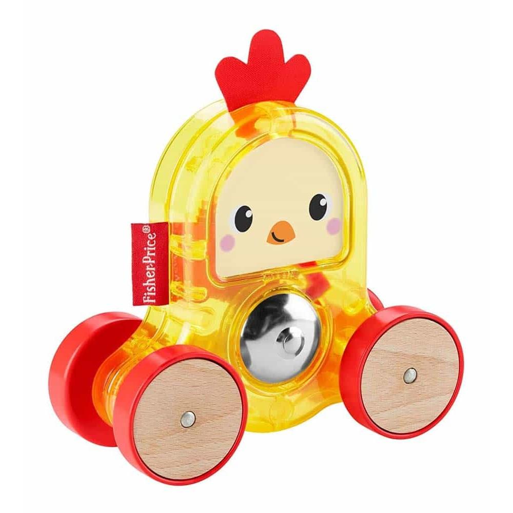 Fisher-Price Jucărie de împins zornăitoare Figurină pui pe roți GMB25