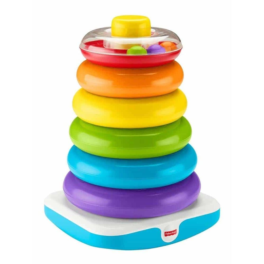 Fisher-Price Jucărie bebeluși Piramidă uriașă de inele Rock A Stack