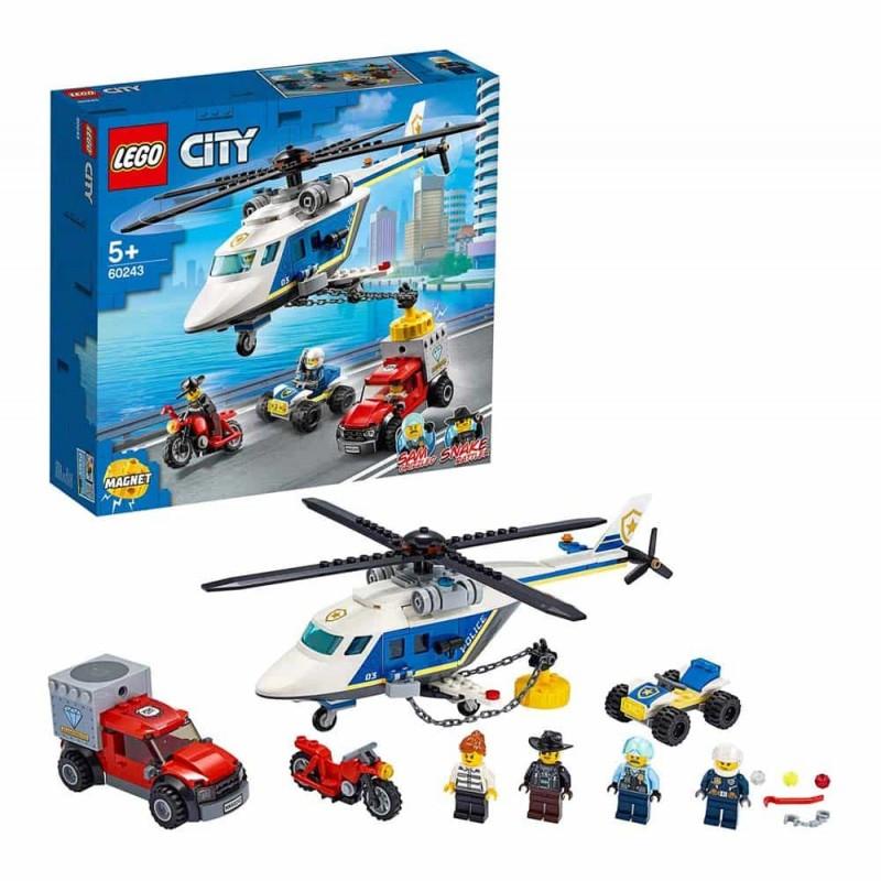 LEGO® City Police Urmăirire cu elicopterul poliției 60243 - 212 piese