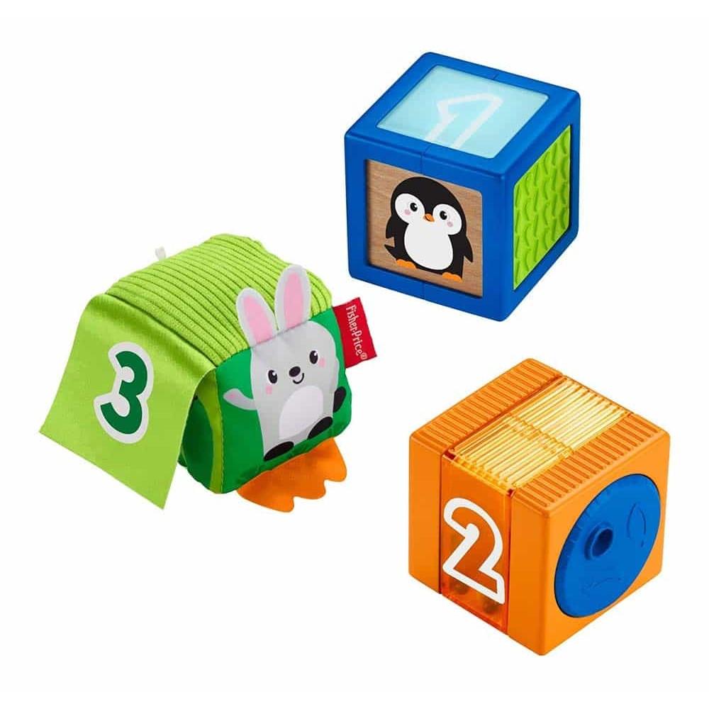 Fisher-Price Jucărie educativă Cuburi diverse materiale GJW13 animale