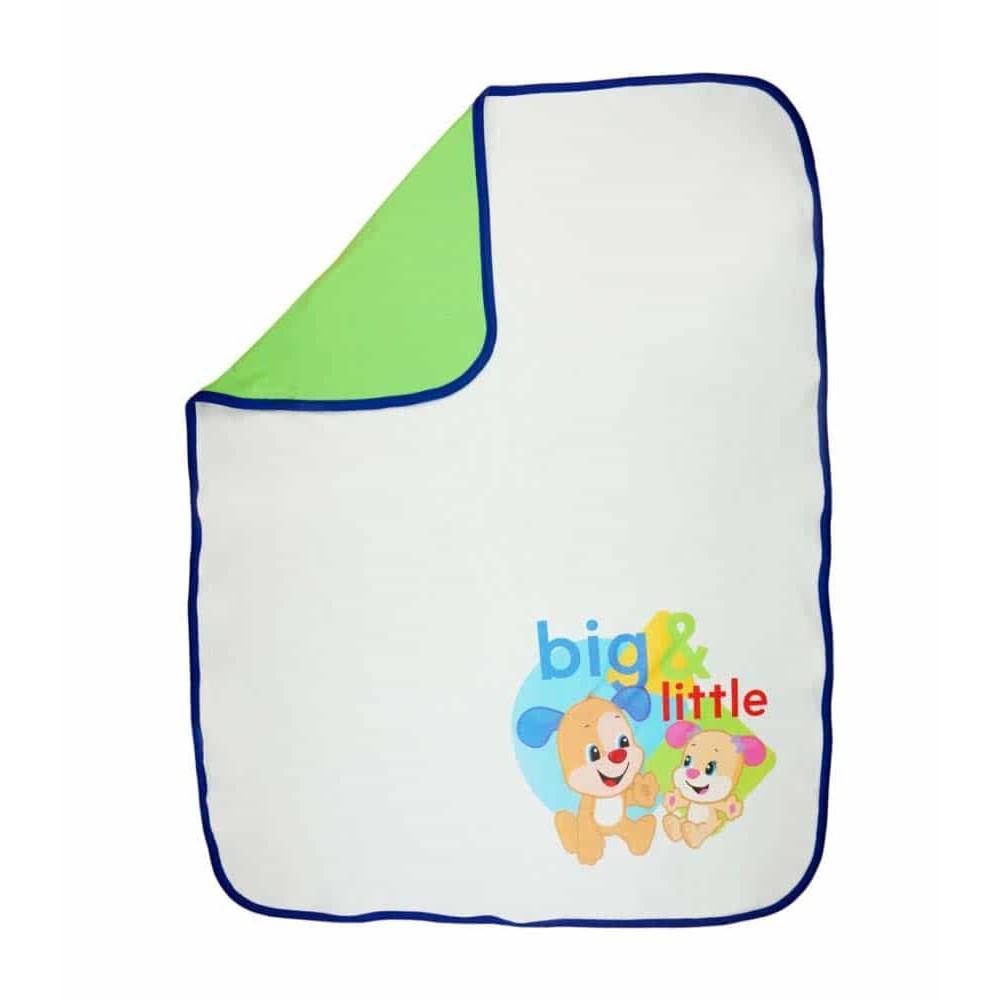 Fisher-Price Pătură bebeluși Big & Little 90x70 cm alb cu albastru