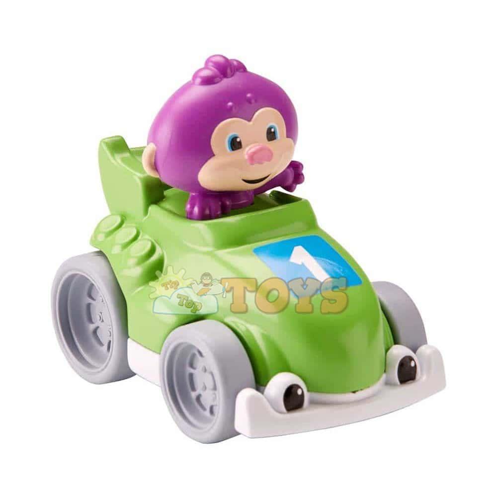 Fisher-Price Mașinuță de curse cu maimuță verde FGJ19 Mattel