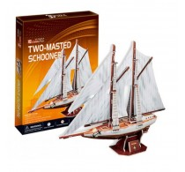 Puzzle 3D Two Masted Schooner Barcă Cubic Fun 3D T4007H 81 piese
