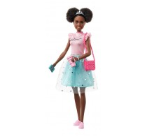 Păpușă Barbie Princess Adventure Prințesa Nikki pink albastru GML70