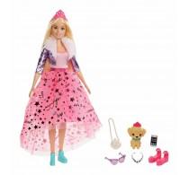 Păpușă Barbie Princess Adventure Prințesă cu păr blond și cățeluș GML76
