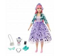 Păpușă Barbie Princess Adventure Prințesă cu păr roz și pisică GML77