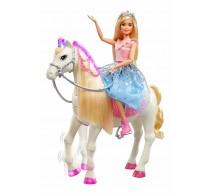 Păpușă Barbie Princess Adventure și calul ei magic set de joacă GML79