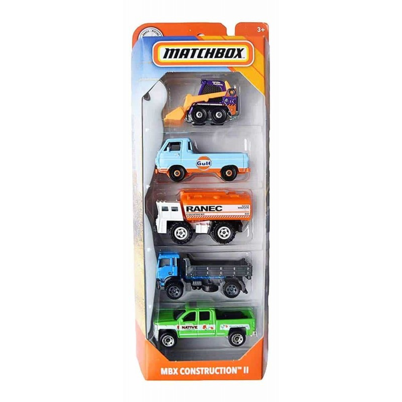 MATCHBOX Set cu 5 mașinuțe metalice Construction II GKJ03 Mattel