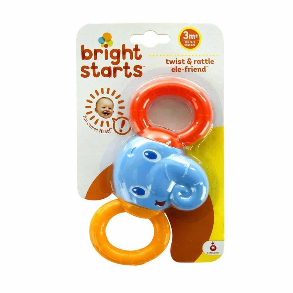 Bright Starts Jucărie dentiție elefant Twist & Rattle 10226 Zornăitoare