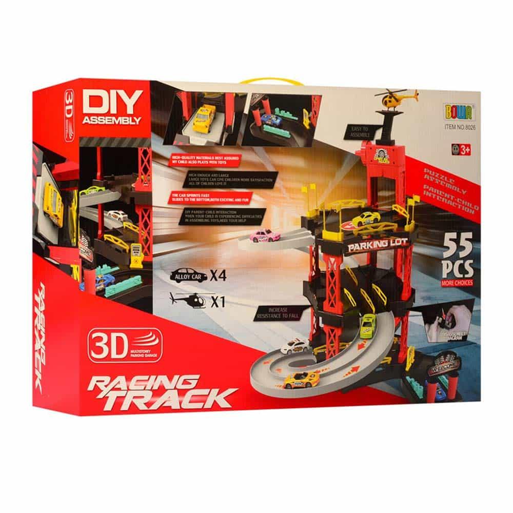 Set parcare cu 3 niveluri și 5 vehicule BOWA Racing 55 piese 8026