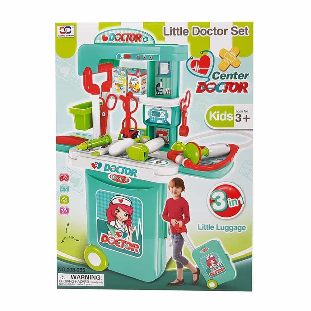 Set de joacă cu troliu Doctor 3 în 1 cu accesorii Troler Micul doctor