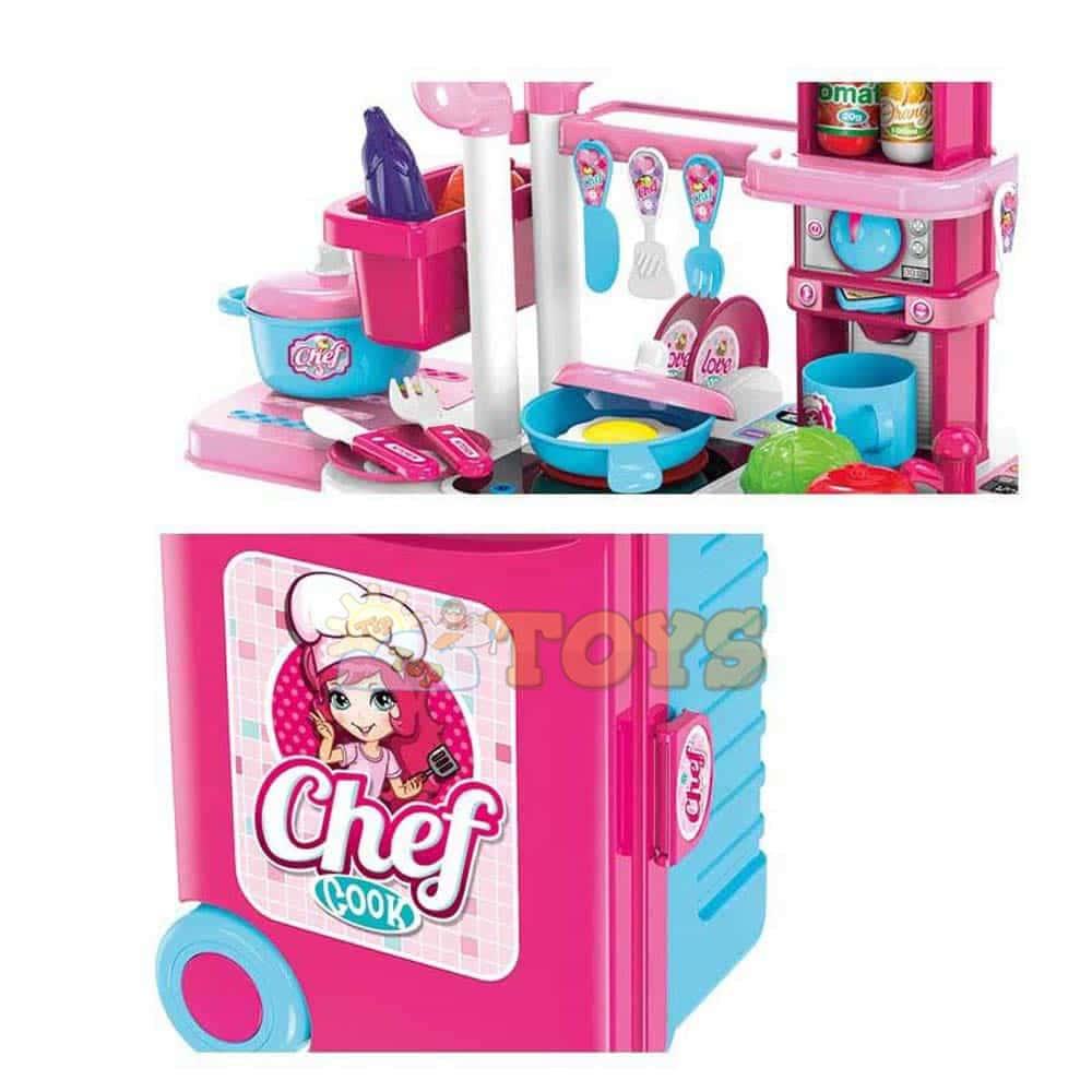 Set de joacă cu troliu Bucătărie 3 în 1 cu accesorii Troler Chef My Kitchen
