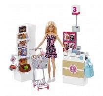 Set de joacă Barbie Supermarket 25 accesorii și coș cumpărături FRP01
