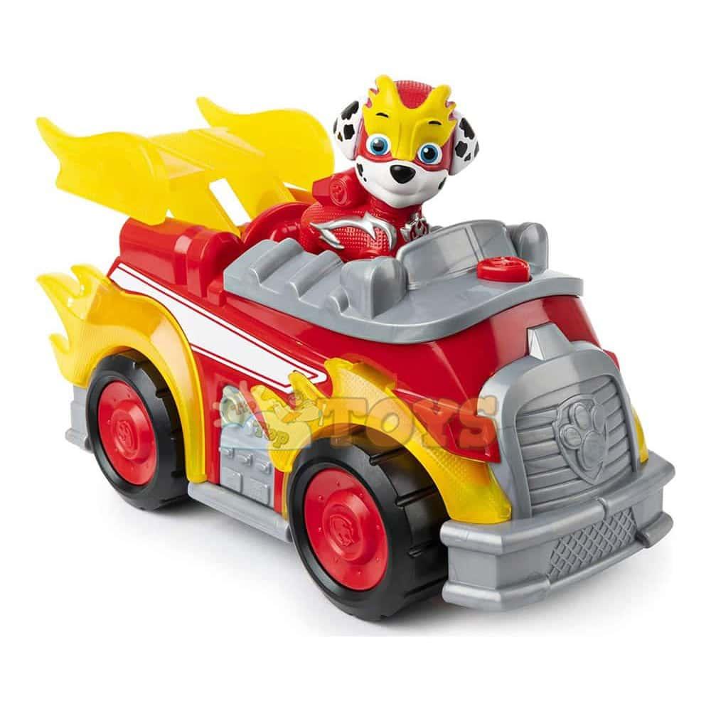 PAW Patrol Set figurină cu vehicul Patrula Cățelușilor Mighty Pups Marshall