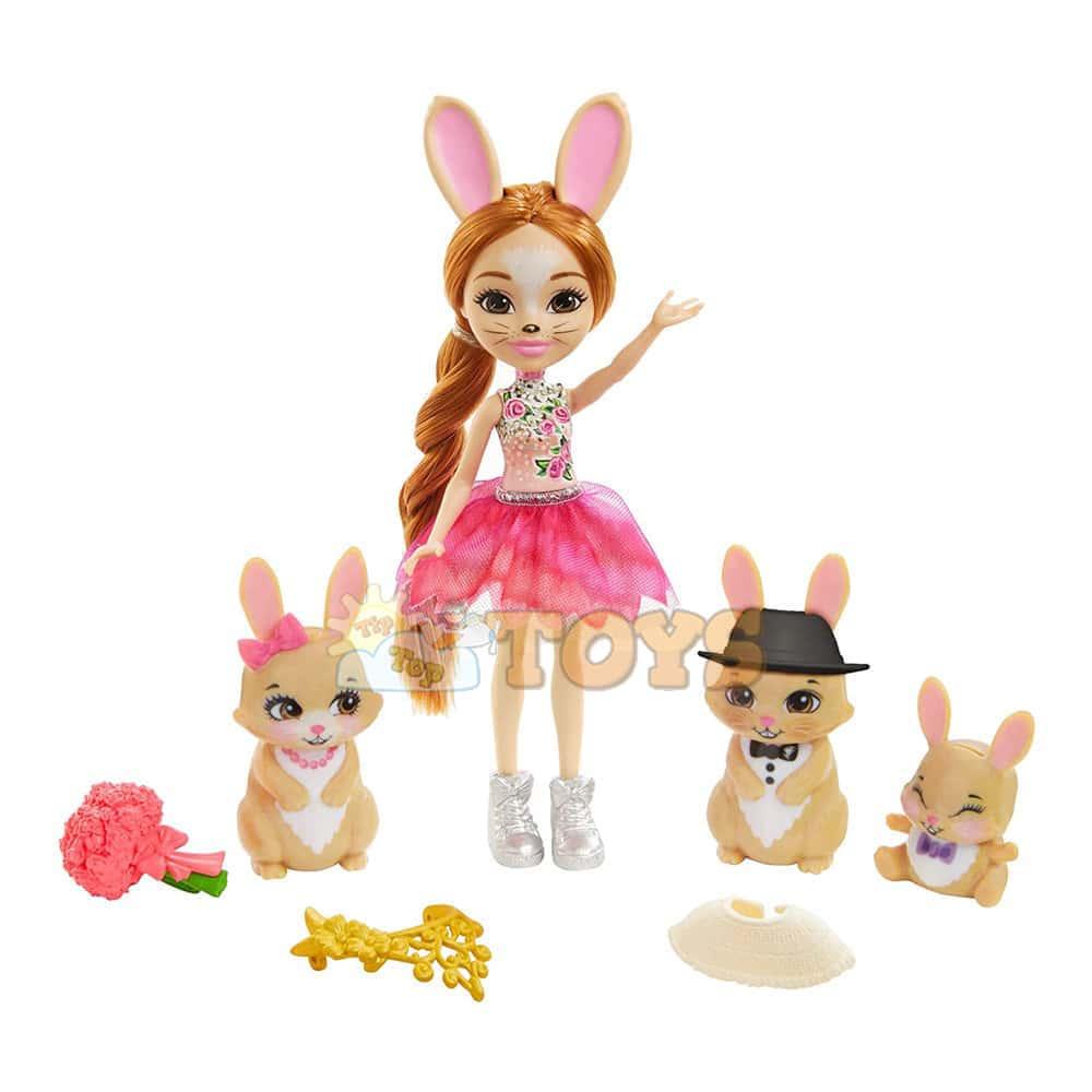 Enchantimals Set de joacă Brystal Bunny Royal și familia de iepuri GYJ08