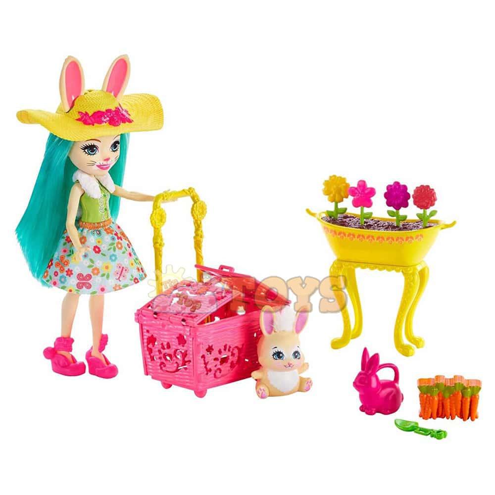 Enchantimals Set de joacă Fluffy Bunny și grădina Enchantimals GJX33