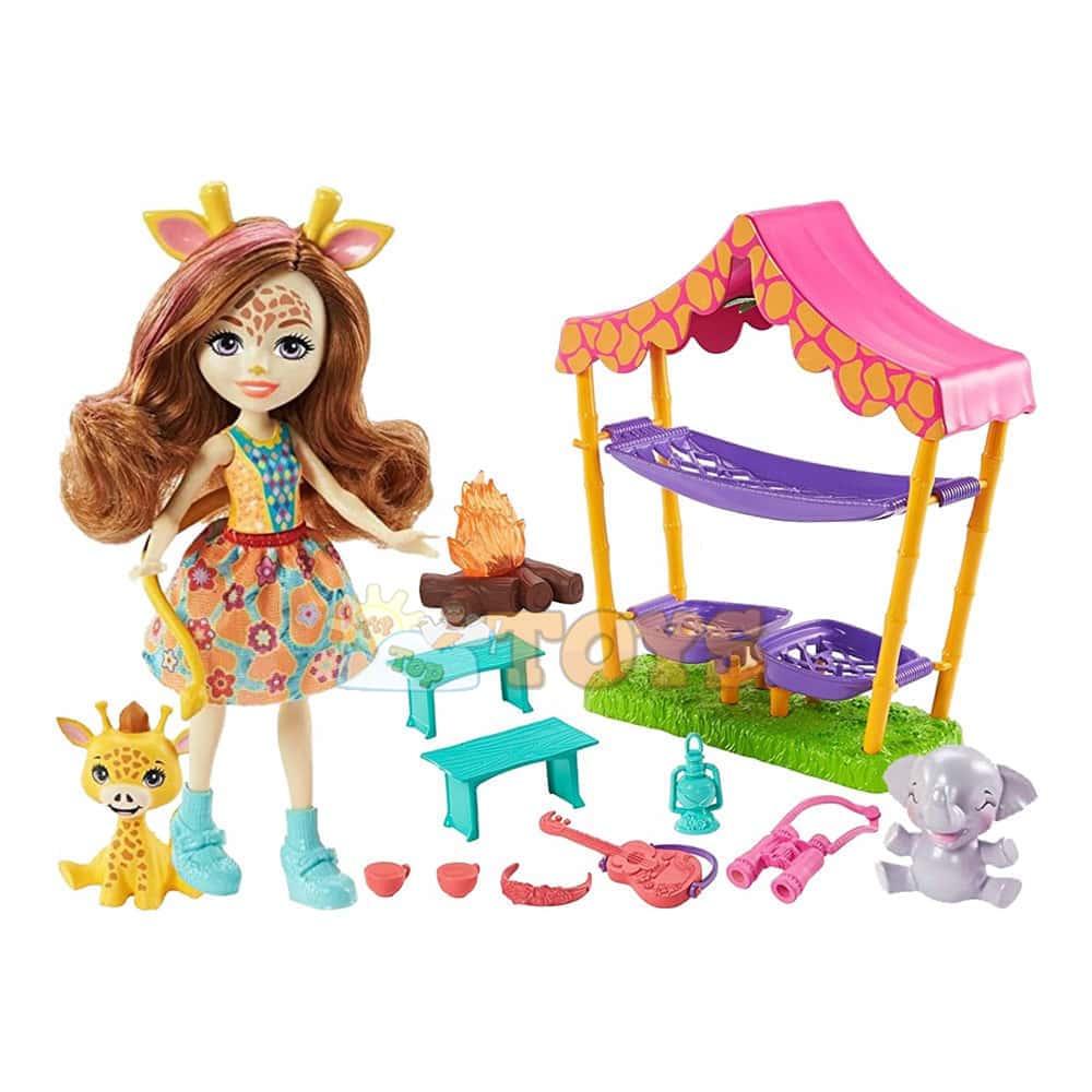 Enchantimals Set de joacă Griselda Giraffe și focul de tabără în savana