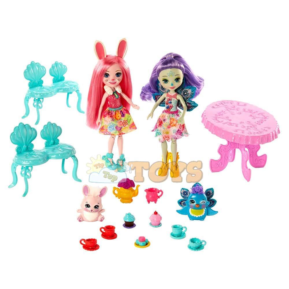 Enchantimals Set de joacă Bree Bunny și Patter Peacock Petrecerea cu ceai