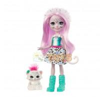 Enchantimals Păpușă Sybill Snow Leopard cu figurină Flake GJX42
