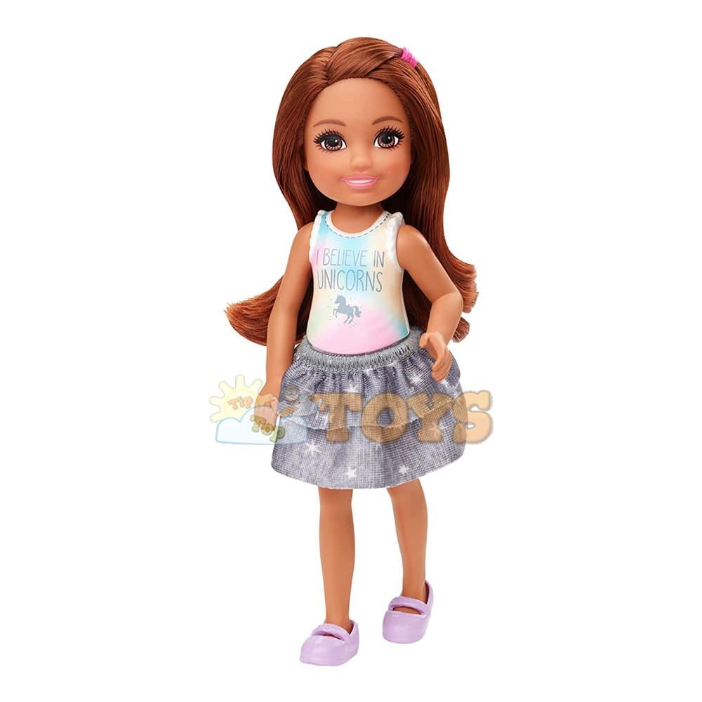 Păpușă Barbie Chelsea Păpușă fetiță blondă în ticou colorat GHV63