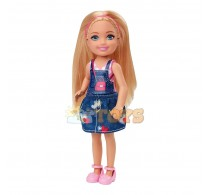Păpușă Barbie Chelsea Păpușă fetiță blondă în rochie denim GHV65