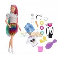 Păpușă Barbie Coafuri curajoase panteră sau curcubeu GRN81 Mattel
